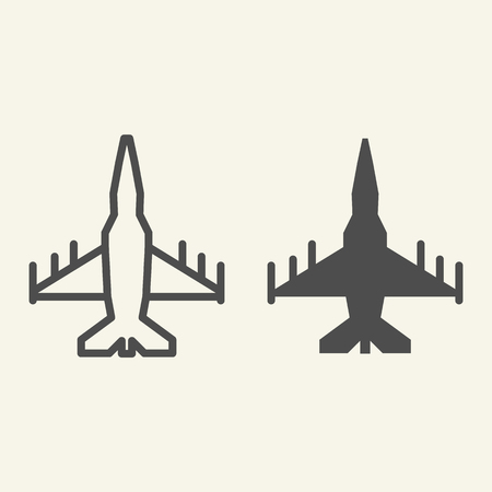 Fighter aircraft line and glyph icon. Military airplane vector illustration isolated on white. Aviation outline style design, designed for web and app. Eps 10 Banque d'images - 126506984