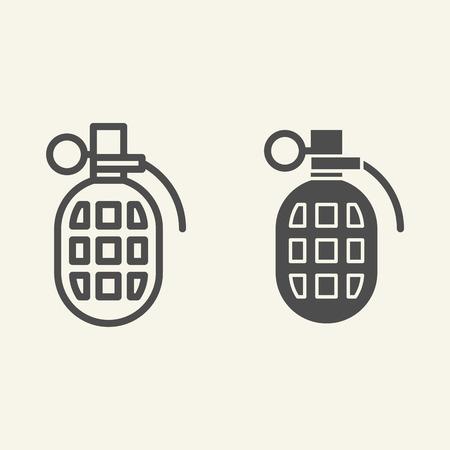 Linea di granate e icona del glifo. Granata a frammentazione illustrazione vettoriale isolato su bianco. Design in stile bomba, progettato per web e app. Vettoriali