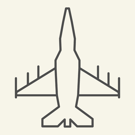 Fighter aircraft thin line icon. Military airplane vector illustration isolated on white. Aviation outline style design, designed for web and app. Eps 10 Banque d'images - 126507003