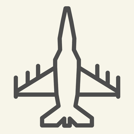 Fighter aircraft line icon. Military airplane vector illustration isolated on white. Aviation outline style design, designed for web and app. Eps 10 Banque d'images - 126507004
