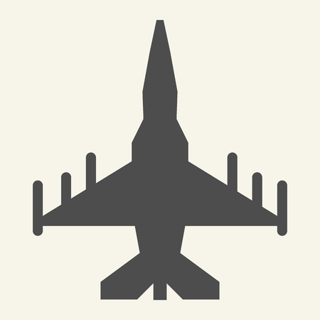 Fighter aircraft solid icon. Military airplane vector illustration isolated on white. Aviation glyph style design, designed for web and app. Eps 10 Banque d'images - 126507005