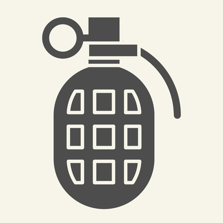 Grenade solid icon. Fragmentation grenade vector illustration isolated on white. Bomb glyph style design, designed for web and app.