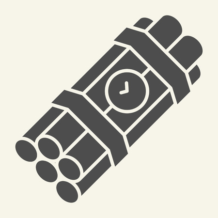 Time bomb solid icon. Dynamite vector illustration isolated on white. Detonator glyph style design, designed for web and app. Eps 10