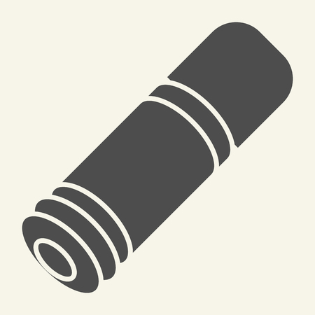Hunt gun ammo solid icon. Cartridge vector illustration isolated on white. Bullet glyph style design, designed for web and app.