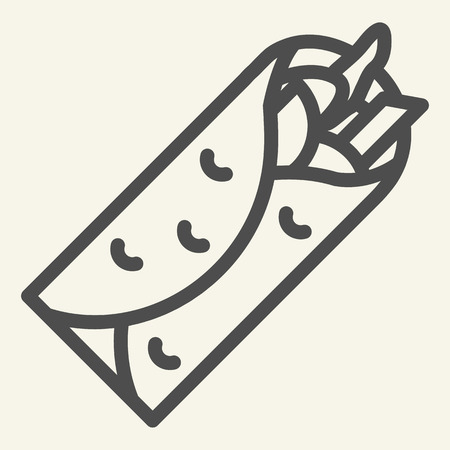 Taco line icon. Mexican food vector illustration isolated on white. Burrito outline style design, designed for web and app Vector Illustration