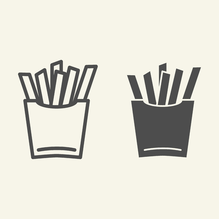 French fries line and glyph icon. Fast food vector illustration isolated on white. Potato outline style design, designed for web and app.