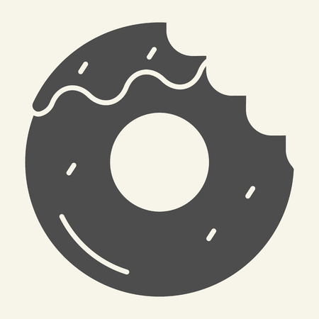 Donut with a mouth bite solid icon. Bitten donut vector illustration isolated on white. Dessert glyph style design, designed for web and app. Eps 10 Ilustração