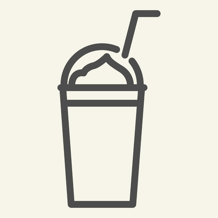 Milkshake line icon. Smoothie vector illustration isolated on white. Take away cup outline style design, designed for web and app. Eps 10