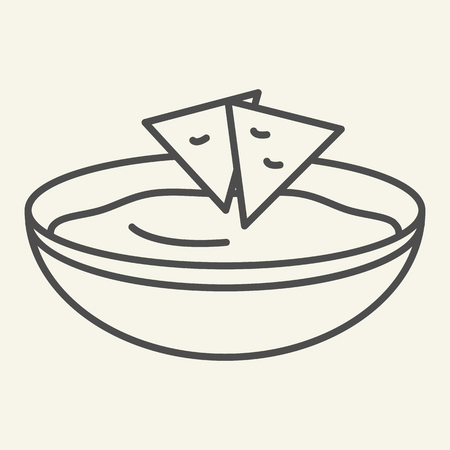 Soup thin line icon. Bowl of soup vector illustration isolated on white. Dish outline style design, designed for web and app. Eps 10.