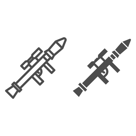 Rocket launcher line and glyph icon. Bazooka vector illustration isolated on white. Weapon outline style design, designed for web and app. Eps 10. Illustration