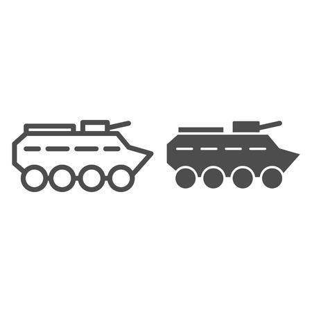 Btr line and glyph icon. Amphibious vehicle vector illustration isolated on white. Armored vehicle outline style design, designed for web and app. Eps 10.