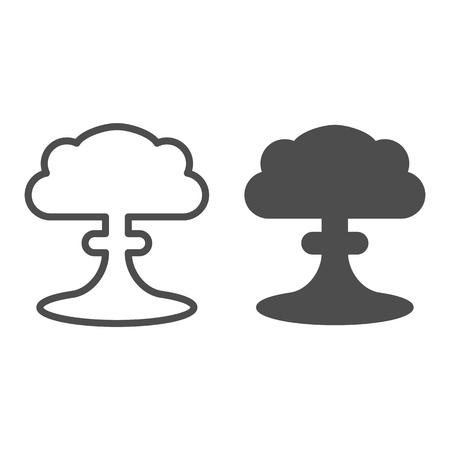 Nuclear explosion line and glyph icon. Radioactive explosion vector illustration isolated on white. Apocalypse outline style design, designed for web and app. Eps 10.