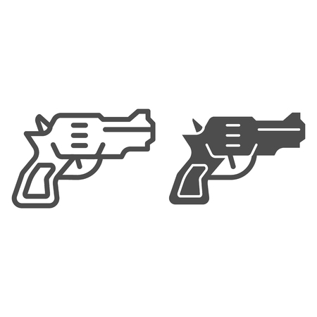 Revolver line and glyph icon. Weapon vector illustration isolated on white. Gun outline style design, designed for web and app. Eps 10.