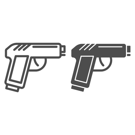 Pistol line and glyph icon. Gun vector illustration isolated on white. Weapon outline style design, designed for web and app. Eps 10.