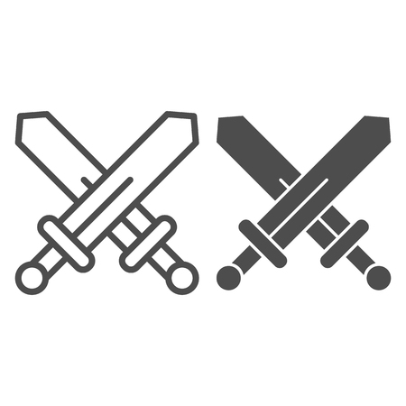 Swords line and glyph icon. Blades crossed vector illustration isolated on white. Weapon outline style design, designed for web and app. Eps 10 Illustration