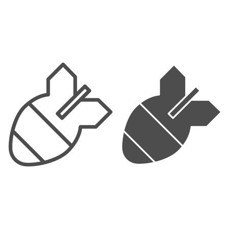 Bomb line and glyph icon. Air bomb vector illustration isolated on white. Missile outline style design, designed for web and app. Eps 10