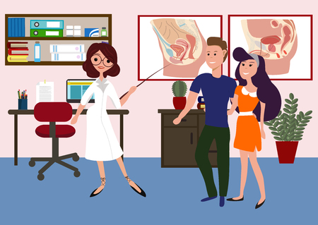 Sexologist clinic with doctor and patients. Consultation with a sexologist. A couple on a sexpotologist. Woman sexologist and young couple. Sexologist explain to couple their problem. Life is pain. Illustration