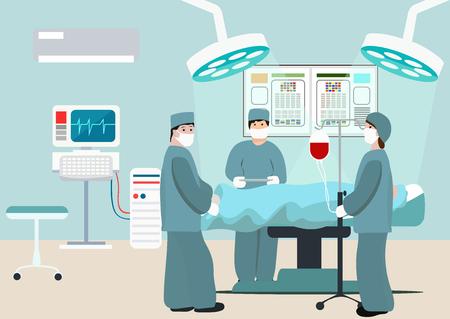 Ilustración de vector de quirófano. Equipo de cirujanos en el trabajo en quirófano. Composición plana de cirugía médica con médicos y pacientes. Cirujanos en quirófano. Hombre bajo anestesia