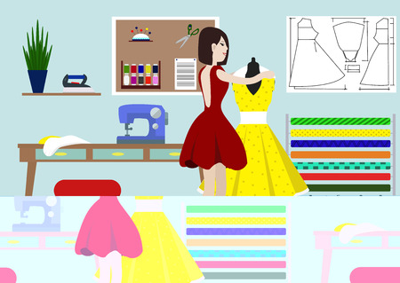 Designer of clothes in studio. A vector illustration of a fashion designer at work. Fashion designer standing near the mannequin. Dressmaker and female mannequin