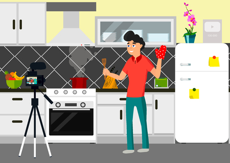 Video blogger infront of came in kitchen. Vector flat style illustration of happy chief blogger man that records video blog. Vlog concept. Cooker streaming video in his channel