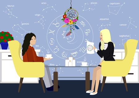 Young girl in consultation with an astrologer. Two girls talk in the astrologer office. Astrology style designed room with astrolog and patient. Illustration of young girl with Astrolog flat style.