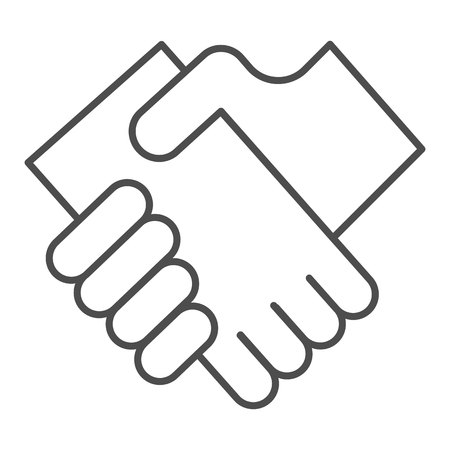 Business handshake thin line icon. Hands shaking vector illustration isolated on white. Agreement outline style design, designed for web and app. Eps 10.