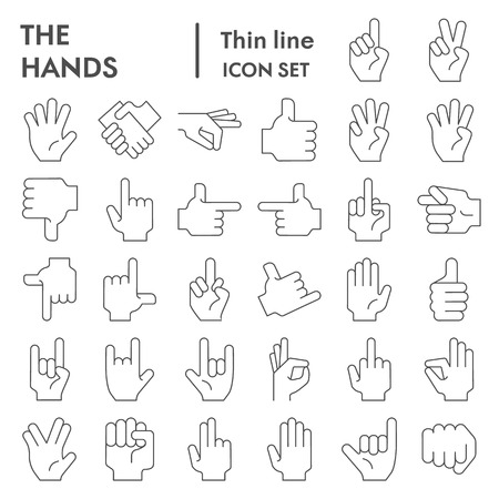 Hands thin line icon set, gesture symbols collection, vector sketches, logo illustrations, arm signs linear pictograms package isolated on white background, eps 10. Logo