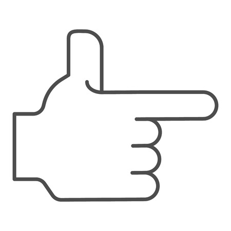 Hand pointing right thin line icon. Direction vector illustration isolated on white. Pointer outline style design, designed for web and app. Eps 10.