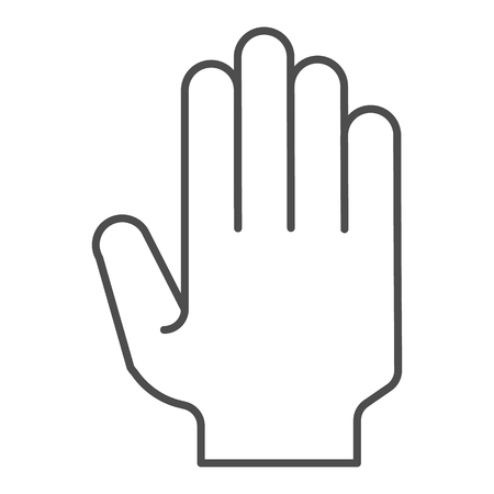 Hand with open fingers thin line icon. Arm gesture vector illustration isolated on white. Five fingers up outline style design, designed for web and app. Eps 10. Vectores