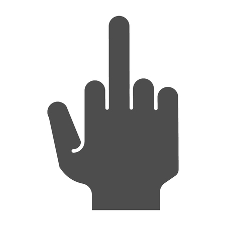 Fuck you hand solid icon. Middle finger up gesture vector illustration isolated on white. Obscene gesture glyph style design, designed for web and app. Eps 10. Фото со стока - 116222008