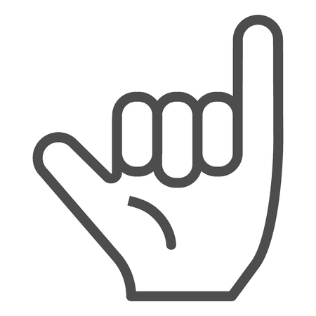 Hang loose gesture line icon. Shaka vector illustration isolated on white. Hand gesture outline style design, designed for web and app. Eps 10.