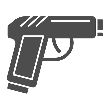 Pistol solid icon. Gun vector illustration isolated on white. Weapon glyph style design, designed for web and app. Eps 10.