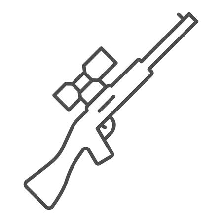 Sniper rifle thin line icon. Gun vector illustration isolated on white. Weapon outline style design, designed for web and app. Eps 10. Illustration