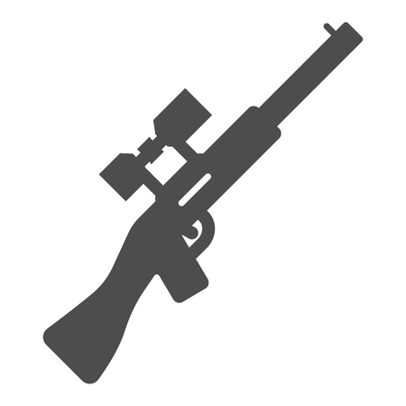 Sniper rifle solid icon. Gun vector illustration isolated on white. Weapon glyph style design, designed for web and app. Eps 10.