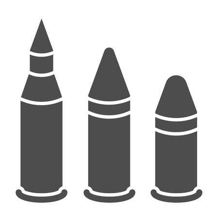 Bullets solid icon. Caliber vector illustration isolated on white. Ammo glyph style design, designed for web and app. Eps 10. Ilustração