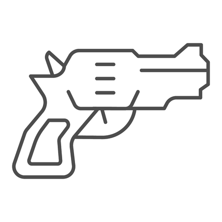 Revolver thin line icon. Weapon vector illustration isolated on white. Gun outline style design, designed for web and app. Eps 10.