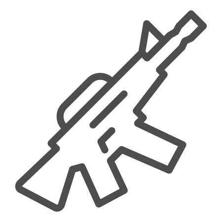 M16 machine gun line icon. Automatic gun vector illustration isolated on white. Weapon outline style design, designed for web and app. Eps 10