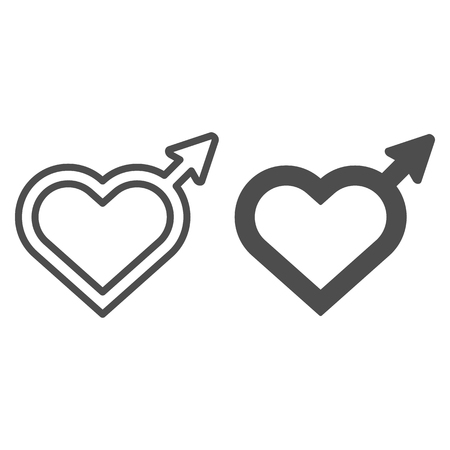 Male gender line and glyph icon. Heart shaped gender sign vector illustration isolated on white. Sex sign outline style design, designed for web and app. Eps 10.