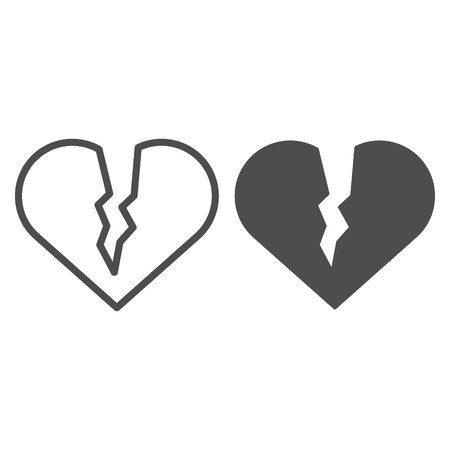 Broken heart line and glyph icon. Sad love vector illustration isolated on white. Heart brake outline style design, designed for web and app. Eps 10.