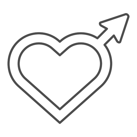 Male gender thin line icon. Heart shaped gender sign vector illustration isolated on white. Sex sign outline style design, designed for web and app. Eps 10.