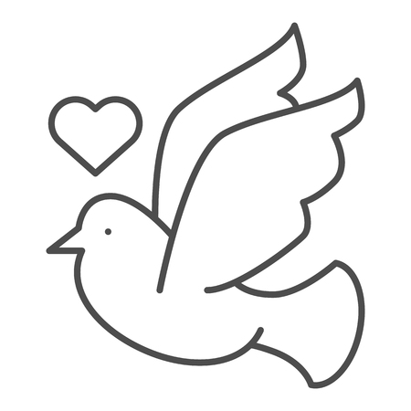 Dove with heart thin line icon. Lovely dove vector illustration isolated on white. Valentines day bird outline style design, designed for web and app. Eps 10.