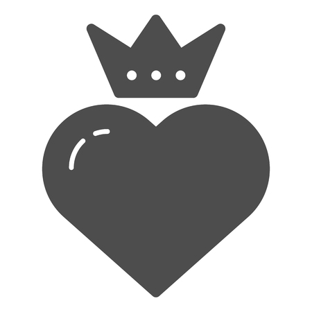 Heart with crown solid icon. Valentines heart vector illustration isolated on white. Queen heart glyph style design, designed for web and app. Eps 10