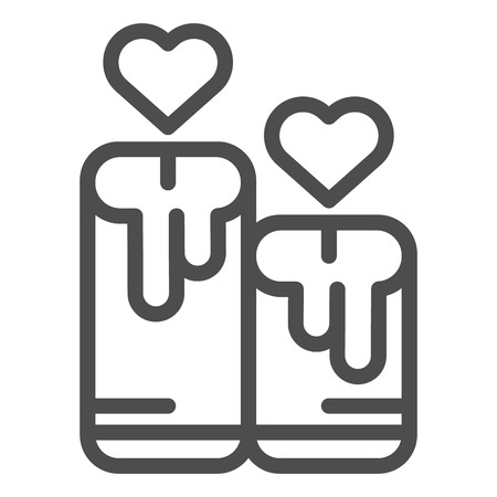 Candles with heart line icon. Love candles vector illustration isolated on white. Romantic light outline style design, designed for web and app. Eps 10