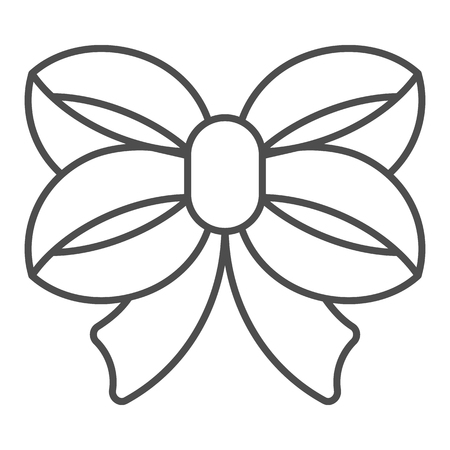 Ribbon bow thin line icon. Double knotted bow vector illustration isolated on white. Tied knot outline style design, designed for web and app. Eps 10