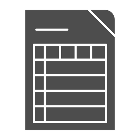 List solid icon. Document vector illustration isolated on white. Paper glyph style design, designed for web and app. Eps 10.