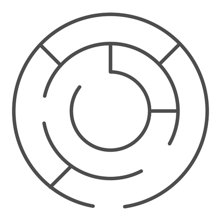 Round labyrinth thin line icon. Circle maze vector illustration isolated on white. Solution outline style design, designed for web and app. Eps 10.
