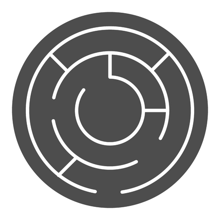 Round labyrinth solid icon. Circle maze vector illustration isolated on white. Solution glyph style design, designed for web and app. Eps 10.