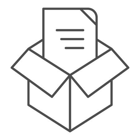 Unpacking thin line icon. Box unpack concept vector illustration isolated on white. File unpacking outline style design, designed for web and app. Eps 10 Illustration