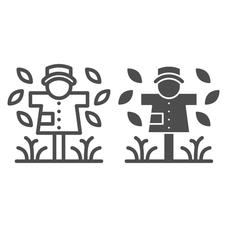 Scarecrow line and glyph icon. Garden doll vector illustration isolated on white. Jackstraw outline style design, designed for web and app. Eps 10.