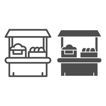 Grocery shop line and glyph icon. Farm store vector illustration isolated on white. Market outline style design, designed for web and app. Eps 10